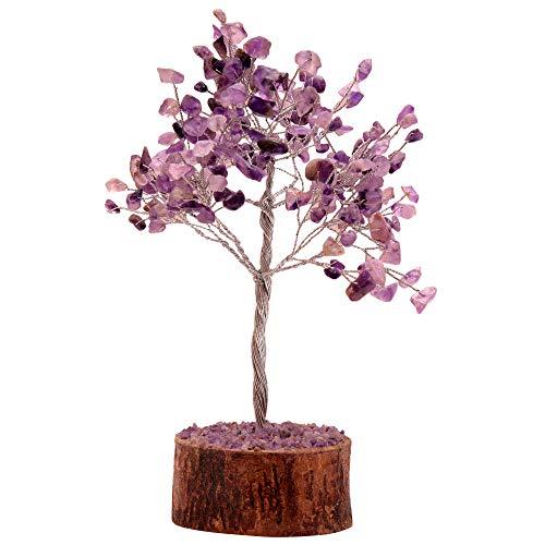 Amethyst Stein Feng Shui Bonsai Geld Baum für viel Glück Chakra Balancing Crystal Edelstein Energie Dekor Home Geschenk