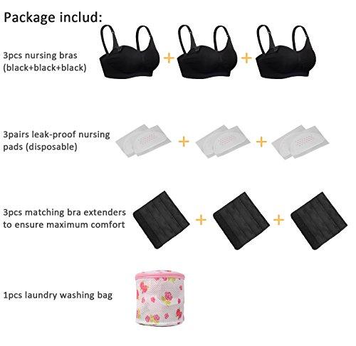 iLoveSIA 3pack Nursing Bras 3Black Size XL Fit 38BC 36CD 34D 34DD 32DDD 30F 40B by iLoveSIA (Image #4)