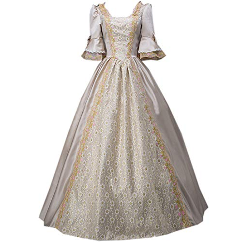 I-Youth Womens Royal Queen Medieval Renaissance Dresses Victorian Civil War Ball Gown Masquerade Costume Golden