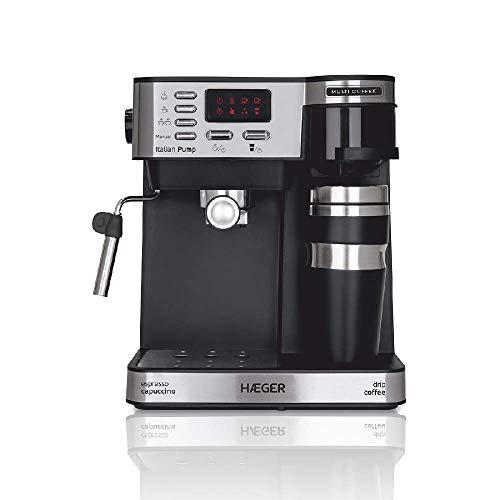 HAEGER Multi Coffee – Cafetera Espresso con 1450w, Capacidad: 1,2L – Pantalla de LED, Boquilla de Espuma y Bandeja de…