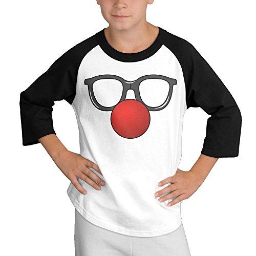 MULTY9 Clown Child Youth 3/4 Baseball Tshirt Small (Gibson Girl Wig)