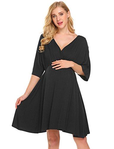 Ekouaer Delivery Gown Womens Short Sleeve Maternity Nursing Sleepwear Black M
