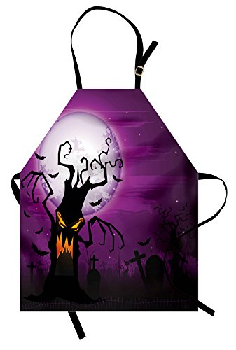 Lunarable Halloween Apron, Scary Tree Creepy Human Face and Twiggy Arm Grunge Cemetery Scene Drawing Art, Unisex Kitchen Bib Apron with Adjustable Neck for Cooking Baking Gardening, Purple Black -
