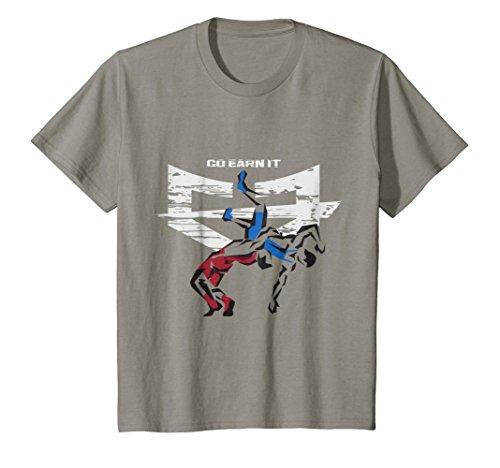 Kids 5 POINT THROW Wrestling t-shirt 10 Slate by GO EARN IT