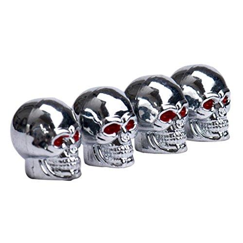 Skull Valve Stem Caps (Ecosin Fashion Hot Sell Red Eyes Skull Tyre Tire Air Valve Stem Dust Caps For Car Bike Truck)