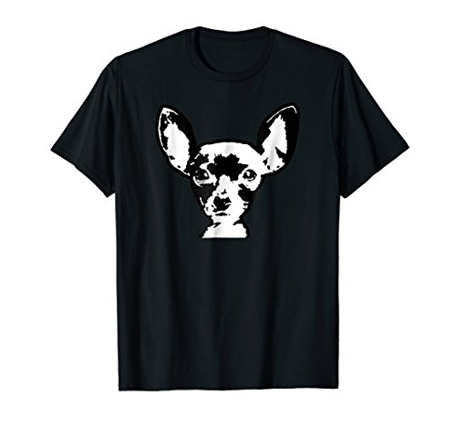 Chihuahua Shirt Black & White Dog Art Face T-shirt (Chihuahua Face T-shirt)