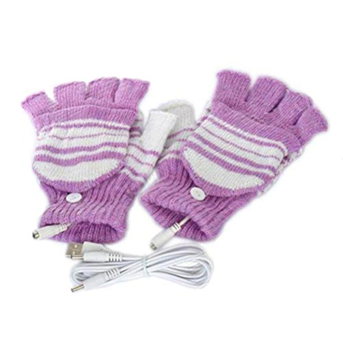 ZLOLIA Women Winter Gloves 5V USB Powered Heated Hand Warm Washable Mittens (one size, Purple) from ZLOLIA