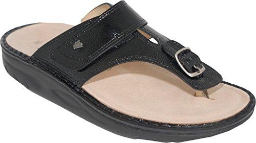 Finn Comfort Dames Calmasino Finnamic String Sandaal Zwart Patent