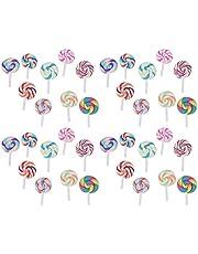 Toyvian 36pcs colgantes de piruletas de arcilla polimérica de colores para niños decoración del hogar