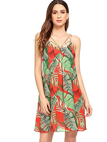 Floerns Women's Tropical Palm Leaf Print Strappy Summer Beach Dress Green-1 S