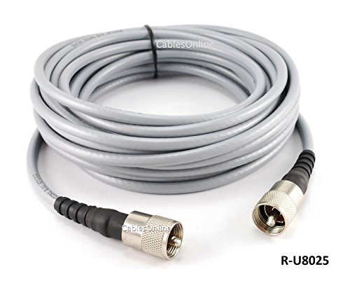 CablesOnline 25ft RG-8/U Mini Coax UHF PL-259 Male/Male Grey Antenna Cable, (R-U8025) (Rg8 Coax)