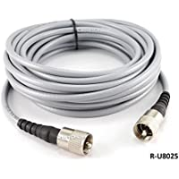 CablesOnline 25ft RG-8/U Mini Coax UHF PL-259 Male/Male Grey Antenna Cable, (R-U8025)