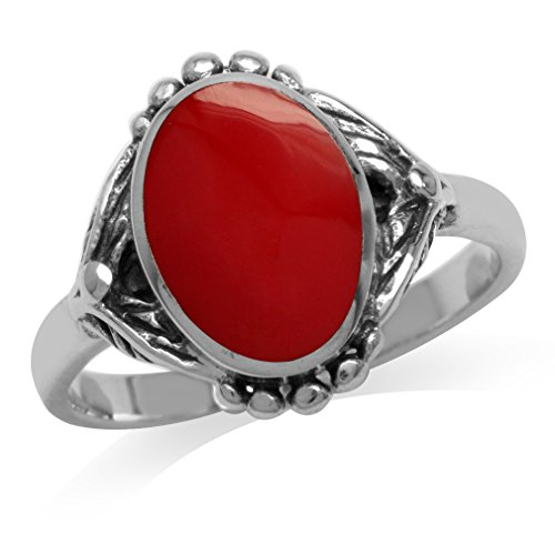 - Created Red Coral Inlay 925 Sterling Silver Baroque Inspired Ring Size 6