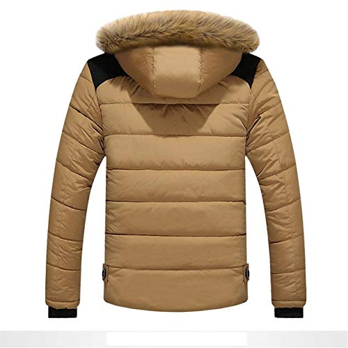 Khaki Fur Men Down Coat Jacket Outdoor Hooded Windproof Hoodies Coat Parka Jacket Collar Jacket Apparel CxqwC6