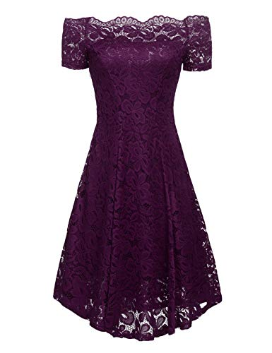 Formal Sleeve Vintage Women Cocktail Floral Lace Short Purple Shoulder Off ACEVOG Dress Swing wzI1qUHq