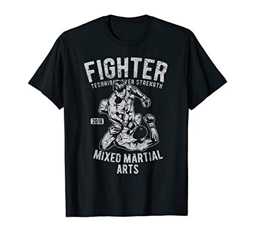 MMA TShirt Cage Fighting Distressed Cool Fighter Men Boy ()