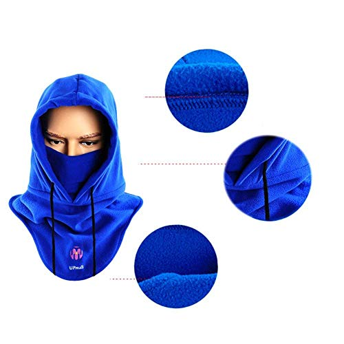 UPmall Multipurpose Use Thermal Fleece Hooded Balaclava Warm Ski Bike Wind Stopper Full Face Mask Neck Warmer for Winter Outdoor Activities Wine red
