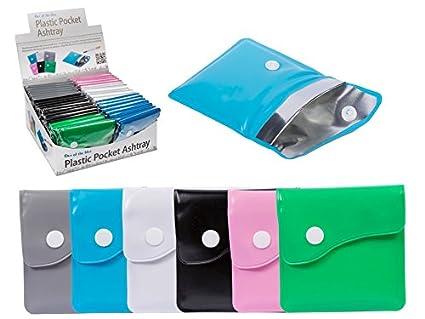 Pocket Ashtray 6 Assorted Colours Reusable Ashtray Plastic case