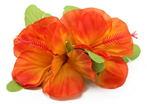 [Hawaii Luau Party Artificial Fabric Double Large Hibiscus Hair Clips Orange Flame] (Flame Hair Costume)