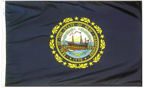 Annin Flagmakers Model 143460 New Hampshire State Flag 3x5 ft. Nylon SolarGuard Nyl-Glo 100% Made in USA to Official State Design Specifications.
