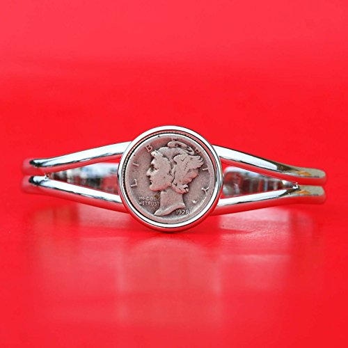 US 1928 Mercury Dime 90% Silver 10 Cent Coin Silver Plated Cuff Bangle Bracelet NEW