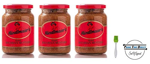 (Händlmaier's Sweet Bavarian Mustard, 13.4 oz. (Pack of 3) with Silicone Basting Brush in a Prime Time Direct Sealed)