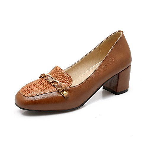VogueZone009 Women's Pull-On Kitten-Heels PU Solid Square Closed Toe Pumps-Shoes, Brown, -