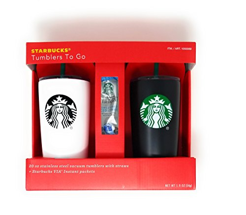 Holiday Starbucks Tumbler Gift Set Bundle With VIA Instant Sweetened Iced Coffee Packets (Starbucks Gift Sets Christmas)