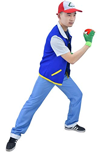 DAZCOS Child Size Ash Ketchum Monster Trainer Cosplay Costume with Cap (Child Medium) Blue