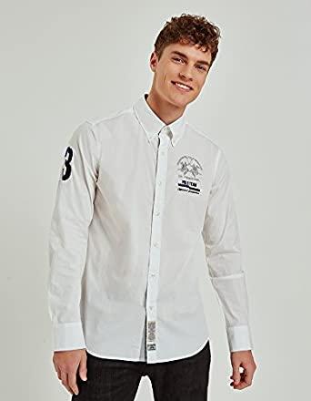 La Martina Poplin Stretch, Camisa Casual Para Hombre, Blanco (Optic White 00001), XXX-Large: Amazon.es: Ropa y accesorios