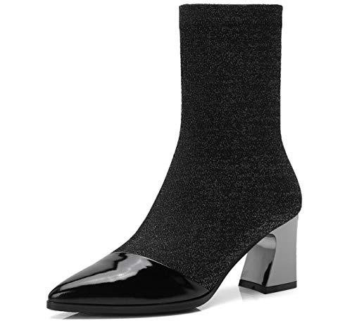 à Color Chaussures Bottes Bottes élastiques Bottes One Talons Moyen à Femmes Pointues Tube 7IwqSaTw