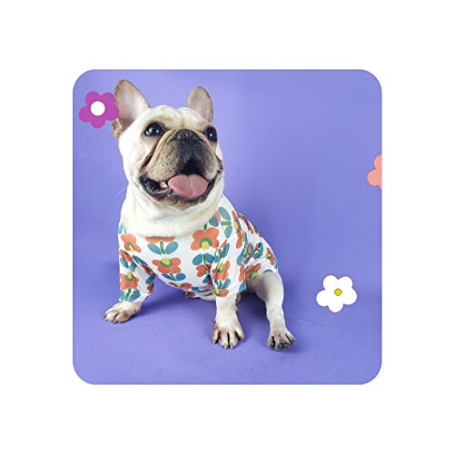 Encounter_meet Fashion Flower Printed Bulldog Pet Dog Clothes for Small Dogs Clothing Pug Costume,Small Flower,XL]()