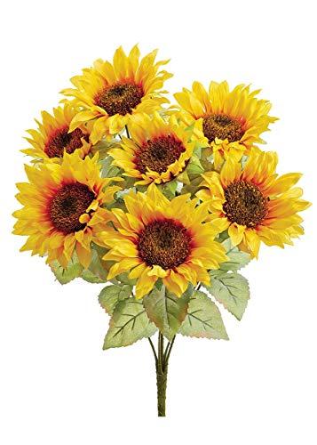 Silk Sunflower Bush in Yellow Gold - 23