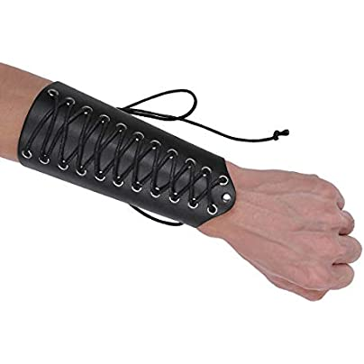iEFiEL Unisex Faux Leather Warrior Protective Arm Armor Lace-Up Gauntlet Wristband Wide Bracer Long One Size Estimated Price -