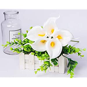 Foraineam Pack of 30 Calla Lily Artificial Flowers Bridal Wedding Bouquets Home Party Floral Decor Real Touch Fake Flowers (White) 5