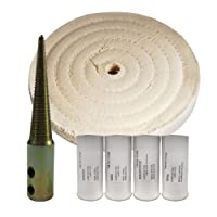 """(1) White 6"""" Cotton Buff, (1) Buffing Compound 4pk, (1) Tapered Spindle Kit"""