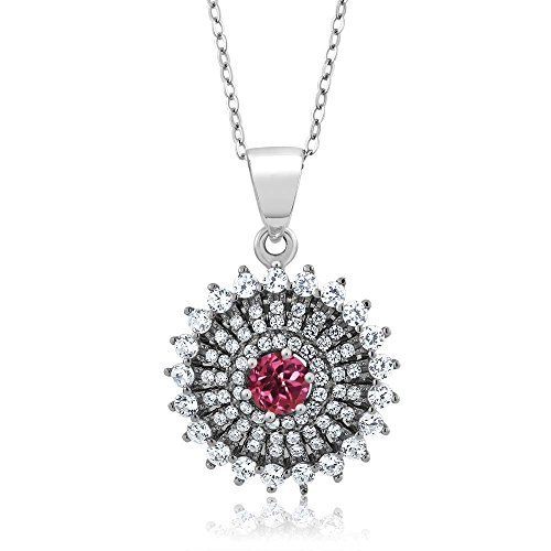 Gem Stone King Sterling Silver Round Pink Tourmaline Pendant Necklace 1.56 cttw With 18 Inch Sterling Silver Chain