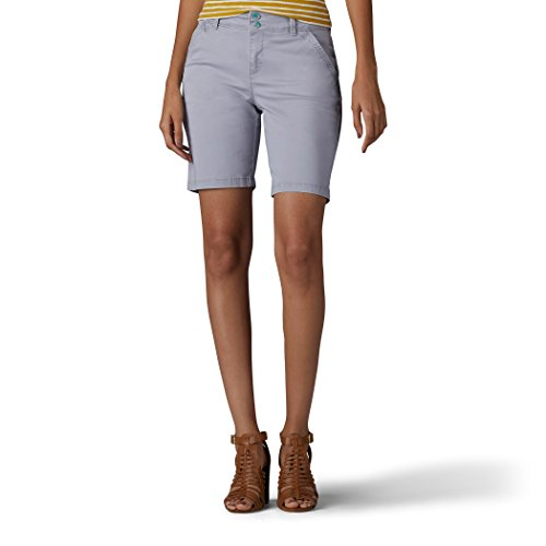 LEE Women's Straight Fit Tailored Chino Bermuda Short, Vintage Alloy, 10