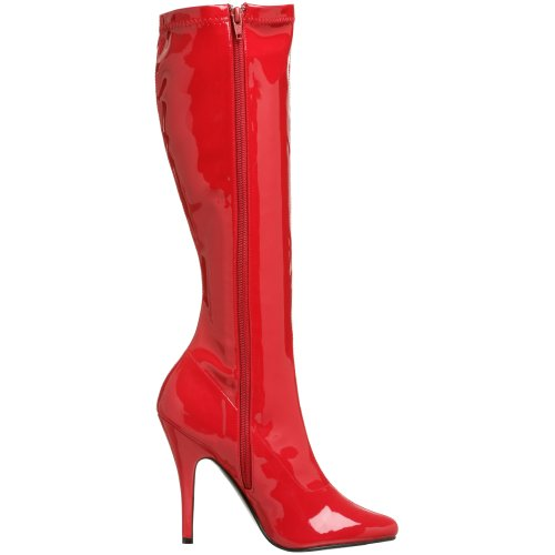 Red High Women's 2000 Seduce Boot Knee Pleaser Stretch Patent wxRqZY4qI