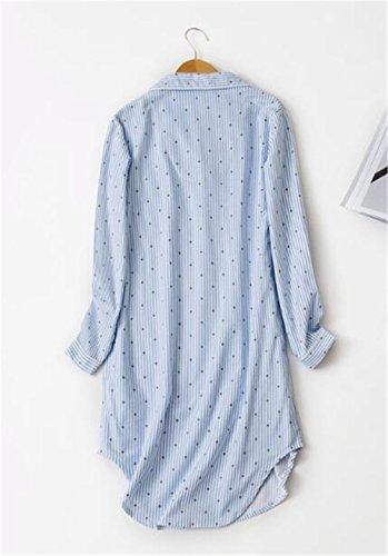 Pigiama Camicia Manica Notte da Orlo Pulsante Blu Vestito BESTHOO Con da da Donna Abito Vestito Taglie Lunga Forti da Notte Irregolare Sleepwear Femminili Notte 01xCFEqx