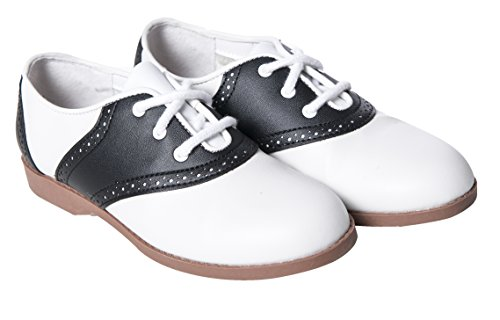 Hip Hop 50s Shop Child Girls Saddle Oxford Shoes 4.5 Black]()