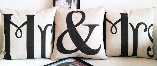 18 X 18 Inch Cotton Linen Home Decorative Throw Pillow Covers Cushion Cover Couple Pillow Case, Mr & Mrs Pillowcases, Set of 3