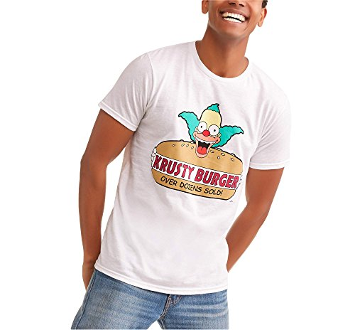Ned Flanders Simpsons - Fashion The Simpsons Krusty The Clown Krusty Burger Graphic T-Shirt (Large)