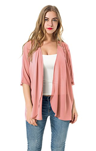 (Women's Short Sleeve Beachwear Sheer Chiffon Kimono Cardigan Solid Casual Capes Beach Cover up Blouse (Pink,)