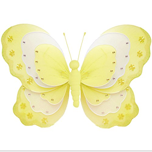 Hanging Butterfly Large 13 Yellow White Triple Layered Nylon Butterflies Mesh Decorations Decorate Baby Nursery Bedroom Girls Room Ceiling Wall Decor Wedding Birthday Party Baby Shower Home Child DIY
