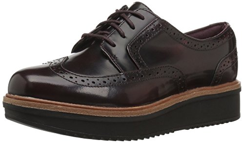CLARKS Women's Teadale Maira Oxford, Aubergine Shiny Leather, 110 M (Clarks Lightweight Oxfords)