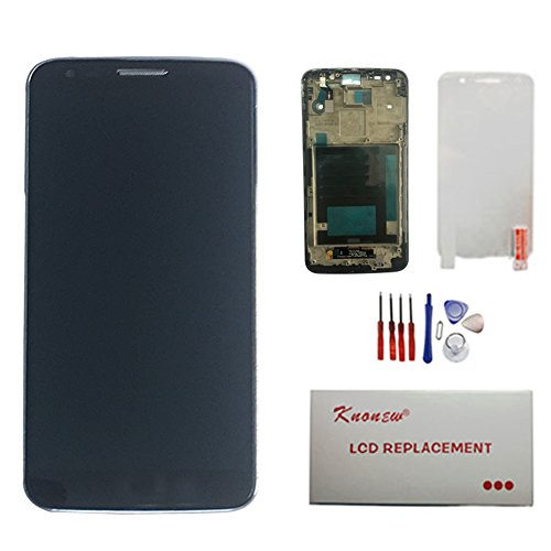 [KNONEW For LG G2 D800 D801 D803 LS980 LCD Display Touch Screen Digitizer Assembly Replacement +Frame Parts Tools (Black)] (G2 Replacement)