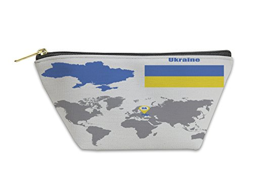 Gear New Accessory Zipper Pouch, Ukraine Map On A World Map With Flag And Map Pointer Illustration, Small, 5998378GN by Gear New