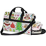 Travel Tote Luggage Weekender Duffle Bag, Christmas Party Tree Owl Gift Cupcake Candy