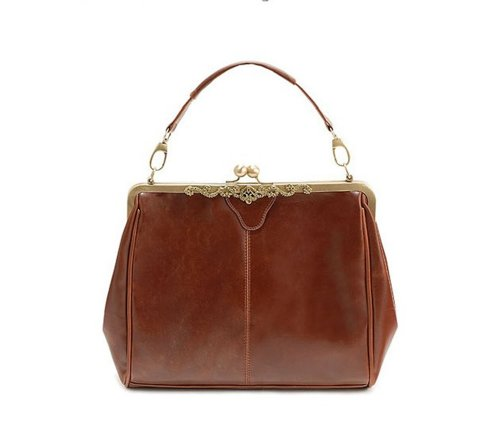 Vintage Style Kiss Lock PU Leather Fashionable Handle Shoulder Bag Satchel Purse Hobo Handbag Office Tote Classic Oversized High Quality Women/Girl Fashion Work School Office Lady Student Brown